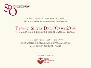 Invito al Premio Silvia Dell'Orso 2014 al Museo Diocesano di Milano il 10 dicembre 2014 alle 18.30