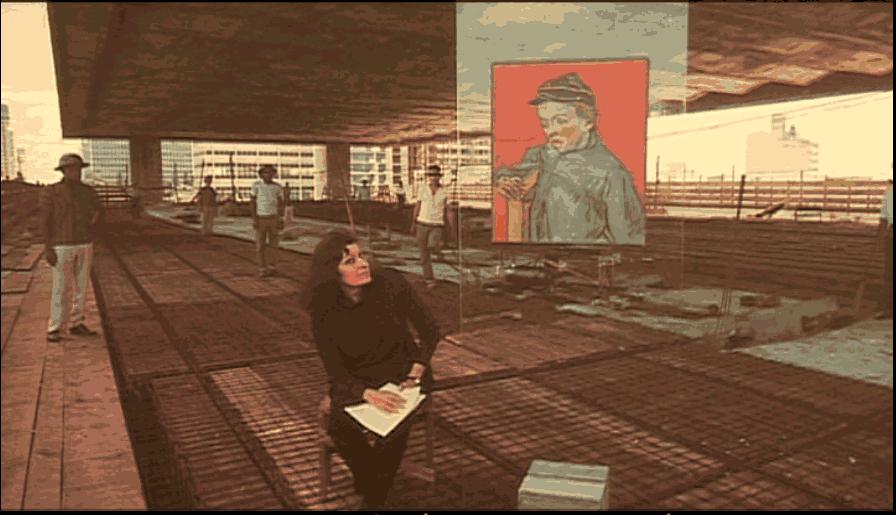 20 marzo 2016_ Italiani oltreoceano_Immagine tratta dal film_Officina Bobardi_ Lina Bo Bardi durante la costruzione del Museo di Arte Moderna di San Paolo
